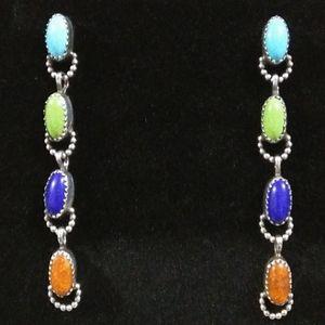 Vintage Sterling southwestern gemstone earrings
